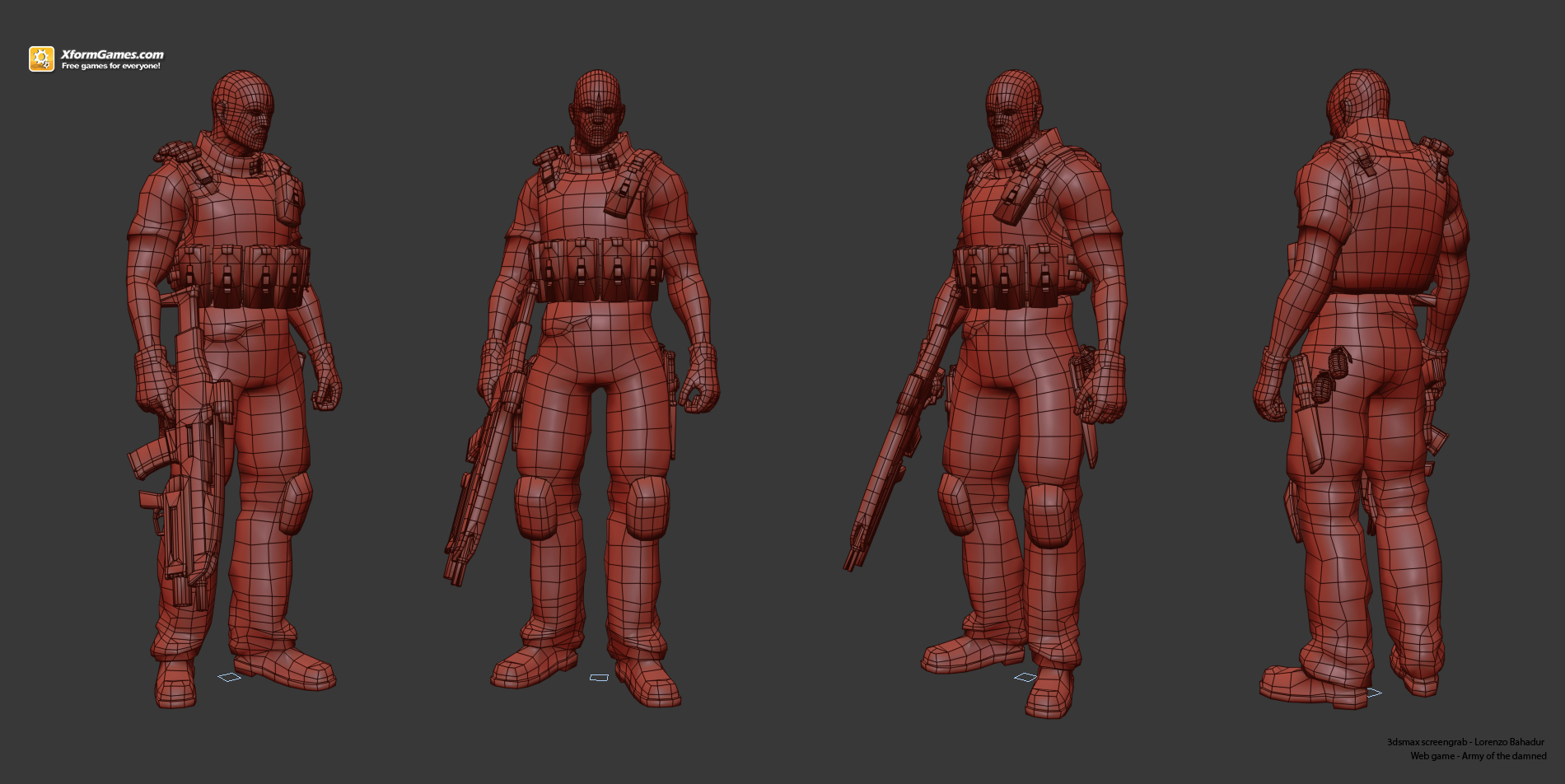 Main character wireframe pose - Army of the damned